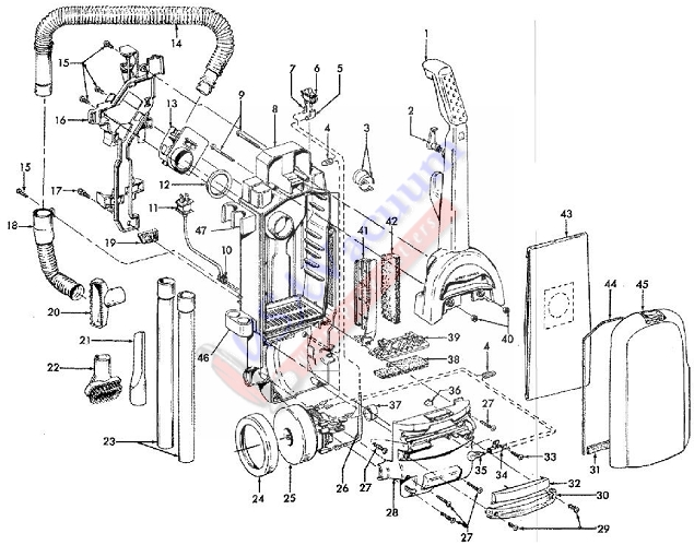Hoover U5394 WindTunnel Upright Vacuum Parts List & Schematic