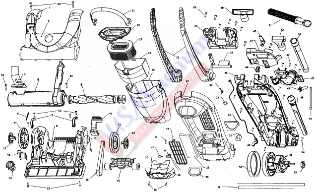 Hoover U5164 Fold Away Bagless Upright Vacuum Parts List & Schematic