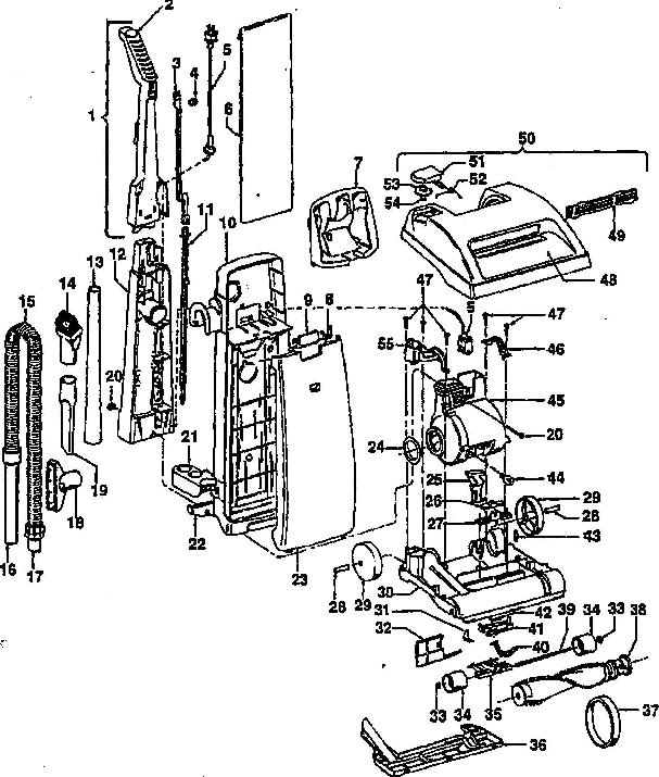 Hoover U5211 Dimension Upright Parts List Schematic