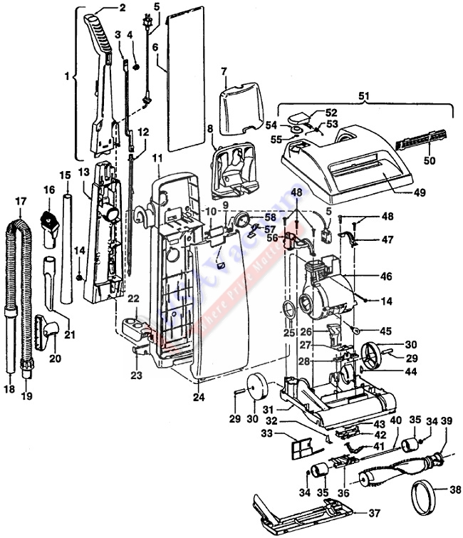 Hoover U5227 Dimension Upright Vacuum Parts List & Schematic