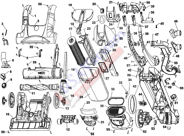 Hoover U5263 EmPower Bagless Upright Vacuum Parts List & Schematic