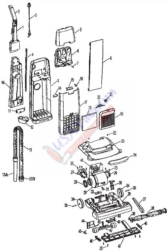 Hoover U5255 Breathe Easy Bagged Upright Vacuum Parts List & Schematic