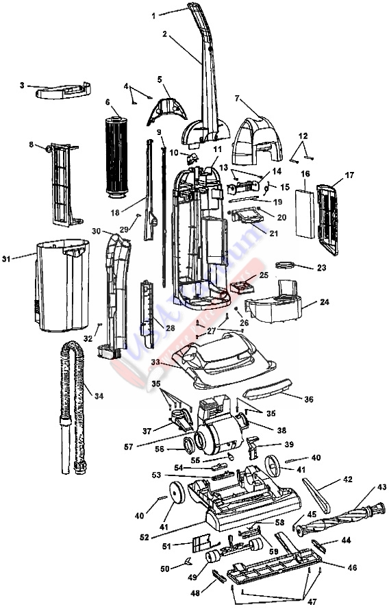 Hoover U5294 WindTunnel Bagless Upright Vacuum Parts List & Schematic