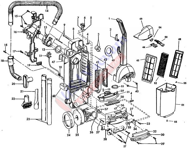Hoover U5347 WindTunnel Wide Path Bagless Upright Vacuum Cleaner Parts List & Schematic