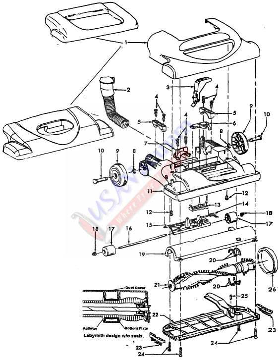 hoover u5465 windtunnel upright vacuum cleaner parts list