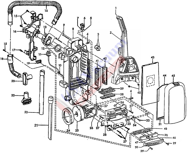 Hoover U5420 WindTunnel TurboPOWER Upright Vacuum Cleaner Parts List & Schematic