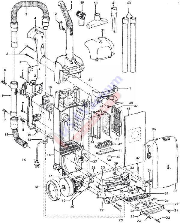 Hoover U5460 WindTunnel Supreme Upright Vacuum Parts List & Schematic