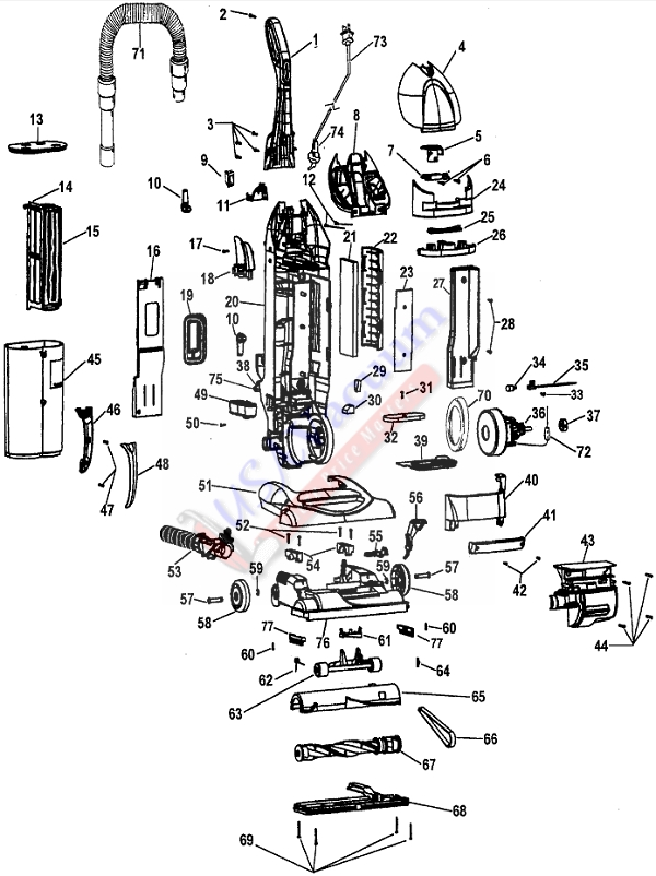 Hoover U5758 WindTunnel Bagless Upright Vacuum Parts List & Schematic