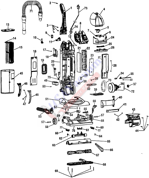 Hoover U5755 WindTunnel Bagless Upright Vacuum Parts List & Schematic