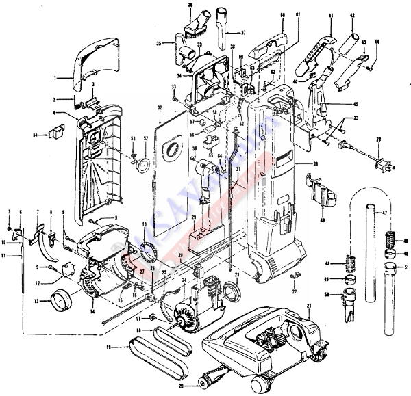 Hoover U6335 Self-Propelled WindTunnel TurboPOWER 7000 Upright Vacuum Parts List & Schematic