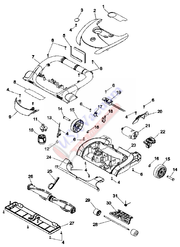 Hoover U8187 Anniversary WindTunnel Upright Vacuum Parts List & Schematic
