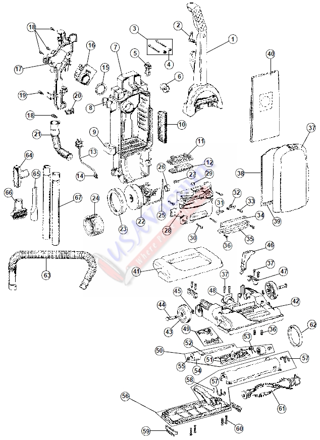 hoover uh30085 windtunnel lite bagged upright vacuum parts