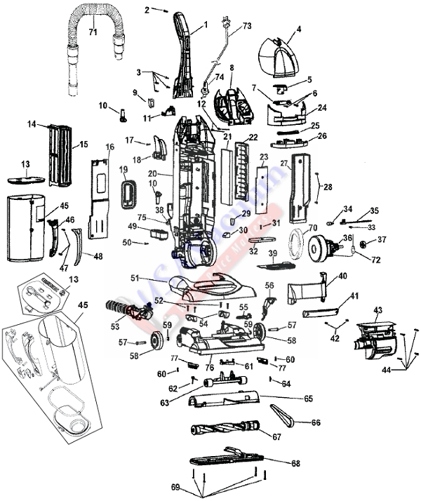 Hoover UH40265 WindTunnel Bagless Upright Vacuum Parts List & Schematic
