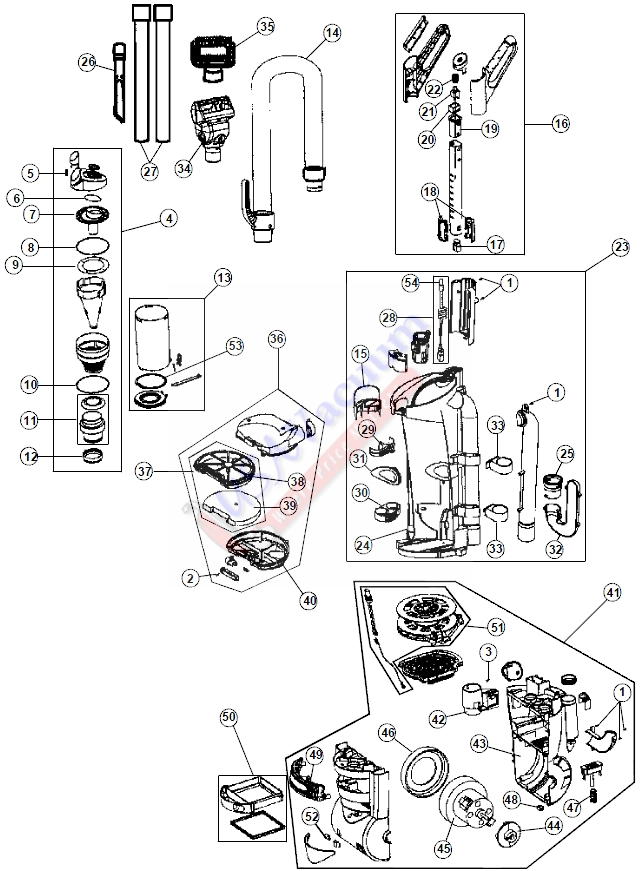 hoover uh70040 mach5 cyclonic upright vacuum parts