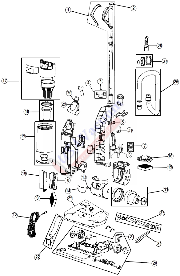 hoover uh70055 turbo cyclonic upright vacuum parts