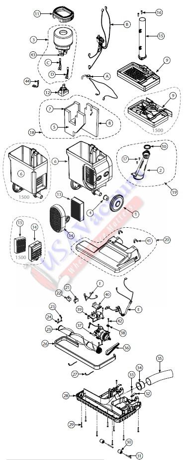 Proteam Proforce 1500 Hepa Upright Vacuum Parts List  U0026 Schematic