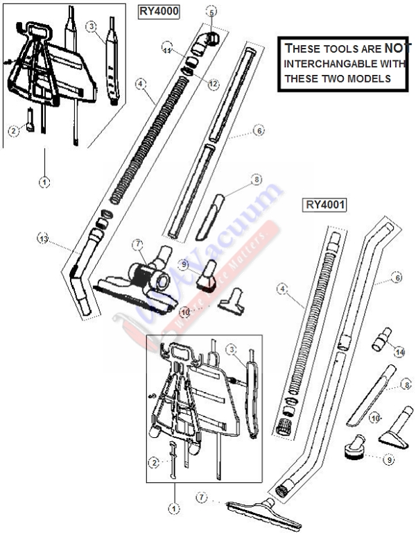 Royal Ry4001 Commercial Backpack Vacuum Parts List