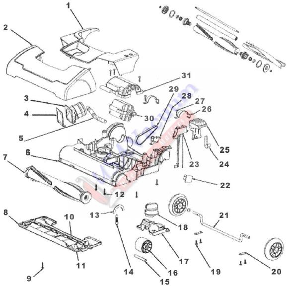 sanitaire sc9180 quiet clean upright vacuum cleaner parts