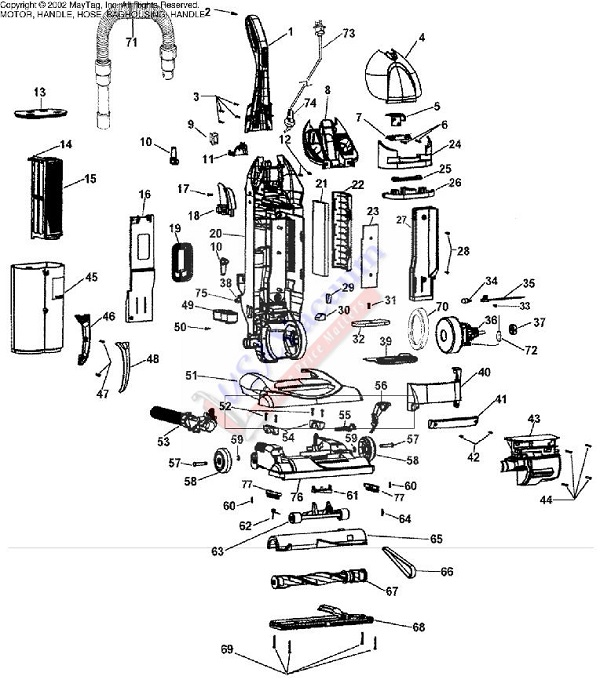 Hoover U5756 Bagless Upright Vacuum Parts List & Schematic
