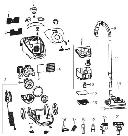 bissell 66t6 pet hair eraser bagless vac parts list  u0026 schematic  bissell model 66t6 parts list