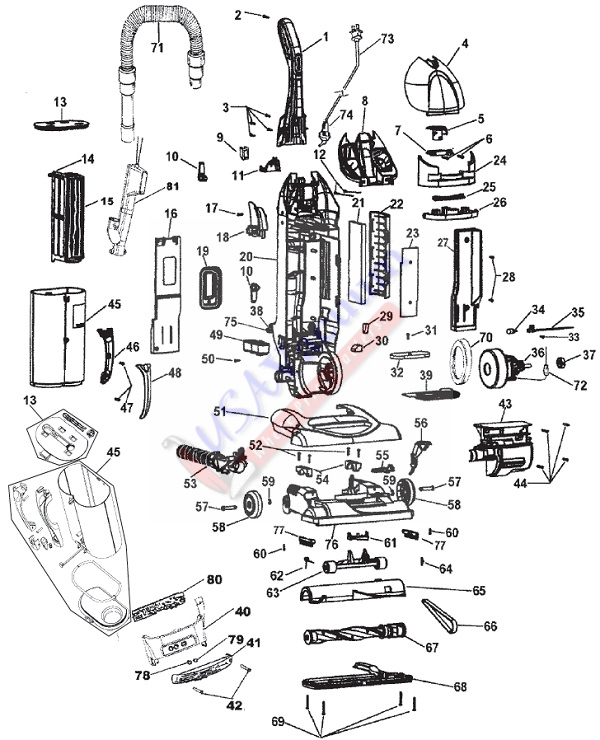 Hoover U5753, U5760, U5786, UH40115, UH40125 WindTunnel Bagless Upright Vacuum Parts List & Schematic