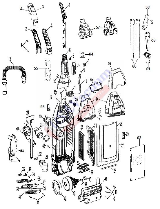 Hoover U6454 WindTunnel Ultra Self-Propelled Bagged Upright Vacuum Parts List & Schematic